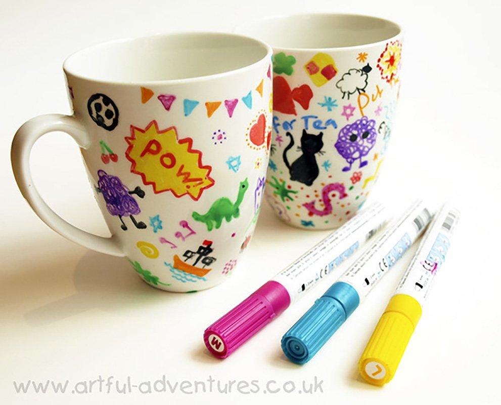 Doodle Decorated Mugs – Artful Kids