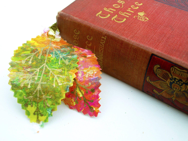 fused-plastic leaves bookmark