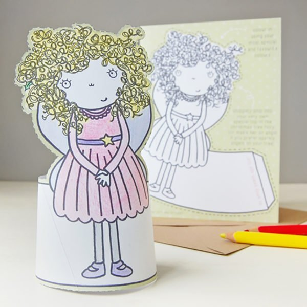 childrens fairy tree topper christmas card