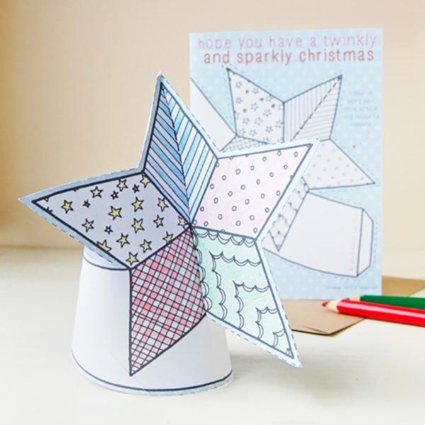children's star tree topper christmas card
