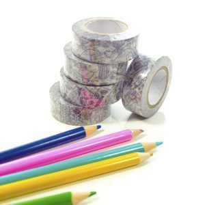 kids colour-in doodle washi tape